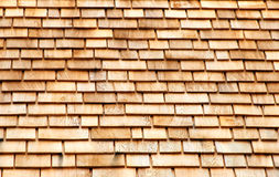Cedar Shingles. Layers of cedar shingles on roof Royalty Free Stock Photography