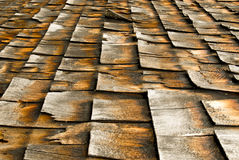 Cedar Shingles. Detail of old, weathered cedar shingles on a sideways view Stock Image
