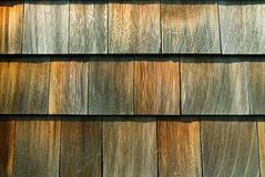 Cedar Shingles. Weather worn wood cedar shingles. Makes a nice texture background Stock Photography