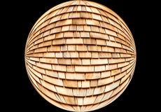 Cedar Shingles - Abstract. Layers of cedar shingles within a geometric circle Royalty Free Stock Photo