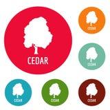Cedar tree icons circle set vector Stock Photos