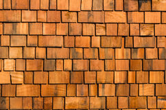 Cedar wood shake roofing. Cedar wooden shakes on roof for background Stock Photo