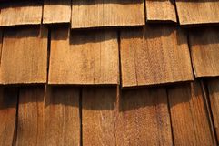 Cedar Wood Shingles Up-Close. Close- up of some cedar wood shingles. Makes a nice background image royalty free stock photo