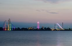 Ceder point amusement park just before sunrise. From the shores of Sandusky Stock Photography
