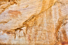 Cederberg bushman paintings - elephants and hunters Stock Photography