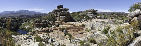 Cederberg Mountains of South Africa. Panorama of a river and rock pool in the Cederberg Mountains of South Africa on the farm Grootfontein in the Western Cape Royalty Free Stock Photography