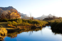 Cederberg scenery. A colorful autumn scene next to a river Royalty Free Stock Photography