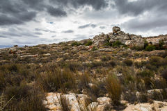 Cederberg vista. Rocky landscape with dramatic clouds Royalty Free Stock Photos
