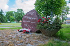 Cedry Wielkie, Poland - June 17, 2017: Monument to memorize prisons of Stuthoff who died during Death March in 24 and 25 january 1. 945 in Cedry Wielkie Stock Photo