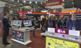 CEE 2016 exhibition of electronics in Kiev, Ukraine. People visit LG, a South Korean multinational conglomerate corporation booth during CEE 2016, the largest Royalty Free Stock Photography
