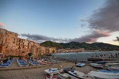 The characteristic port of Cefalù royalty free stock photography