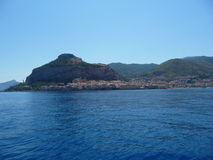 Cefalù from the sea. Beautiful view of Cefalù from the sea stock images