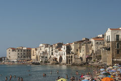 Cefalù with the beach palermo sicily italy europe Royalty Free Stock Photography
