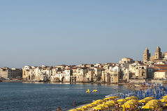 Cefalù with the beach palermo sicily italy europe Royalty Free Stock Photos