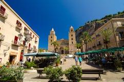 Cefalu大教堂大教堂是天主教堂在Cefalu,西西里岛,意大利 免版税库存图片