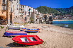 Cefalu,西西里岛,意大利 图库摄影