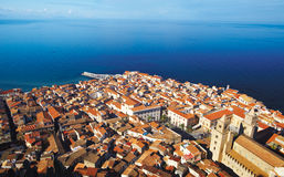 Cefalu. Top view of Cefalu town Royalty Free Stock Photo