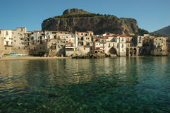Cefalu. Cefalù (Sicilian: Cifalù) is a city and comune in the province of Palermo, located on the northern coast of Sicily, Italy on the Tyrrhenian Sea about stock image