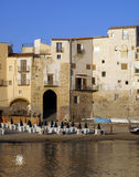 Cefalu. Old town Cefalù in Sicily the old port royalty free stock photos