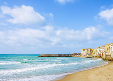 Cefalu beach town Stock Photography