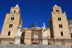 Cefalu cathedral on summer sky; Sicily Royalty Free Stock Photo