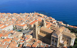 Cefalu cathedral and town from above Stock Photography