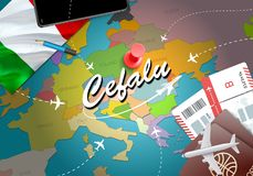 Cefalu city travel and tourism destination concept. Italy flag a. Nd Cefalu city on map. Italy travel concept map background. Tickets Planes and flights to royalty free illustration