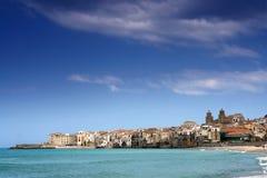 Cefalu harbor. In sicily island Stock Photography