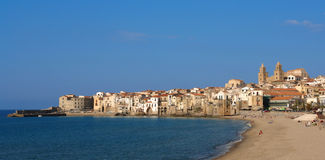 Cefalu harbor in sicily Royalty Free Stock Photo