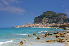 Cefalu harbor in sicily royalty free stock images