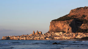 Cefalu  historical town and walled rock Stock Images