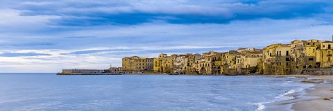 Cefalu old beautiful town beach view, Palermo region, Sicily. Wide banner stock photos