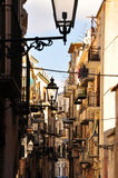 Cefalu old city street scape. Old buildings in the city centre Royalty Free Stock Images