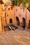 Cefalu old courtyard. Old buildings in the city centre Royalty Free Stock Image