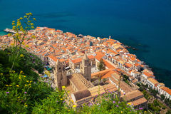 Cefalu old town with Duomo cathedral Royalty Free Stock Photo