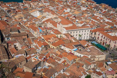 Cefalu old town roofs view and the sea Stock Image