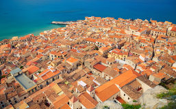 Cefalu orange roofs royalty free stock images