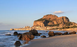 Cefalu Rock And Historical Town In Sunset Light Royalty Free Stock Image