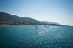 Cefalu sea view in Sicily. Cefalu sea view with boats, beach, mountain and trees in Sicily, Italy Royalty Free Stock Photos