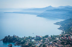 Cefalu sea view in Sicily. Cefalu sea view, gulf and mountain and trees in Sicily, Italy Stock Images