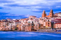 Cefalu, Ligurian Sea, Italy, Sicily. Cefalu, Sicily. Ligurian Sea and medieval sicilian city Cefalu. Province of Palermo, Italy Stock Images