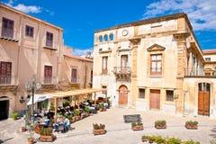 Old mediterranean steet in Cefalu, medieval city of Sicily, Ital. CEFALU, SICILY - SEPTEMBRE 16,2014: Old mediterranean steet on Sep 16, 2014  in Cefalu Royalty Free Stock Image