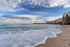 Cefalu at sunrise, Sicily, Italy - Tyrrhenian Sea, Mediterranean Sea Stock Photo