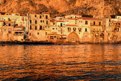 Cefalu at sunset. Cefalu, a beautiful city from Sicily, Italy, at sunset Royalty Free Stock Images