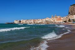 Cefalu at sunset, Sicily, Italy - Tyrrhenian Sea, Mediterranean Sea.  Stock Photography