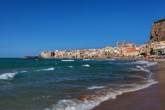 Cefalu at sunset, Sicily, Italy - Tyrrhenian Sea, Mediterranean Sea.  Royalty Free Stock Images