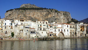 Cefalu town in Sicily. Scenic view of waterfront of Cefalu town with sea in background, Sicily, Italy royalty free stock image