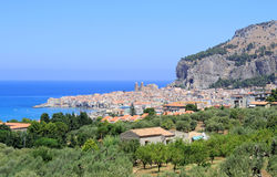 Cefalu townscape from the hills Royalty Free Stock Photo