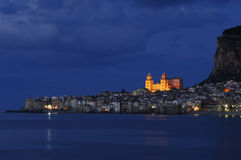 Cefalu In Twilight. Sicily, Italy Royalty Free Stock Photography