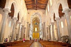 Cefalun,西西里岛大教堂大教堂诺曼底样式  意大利 库存照片